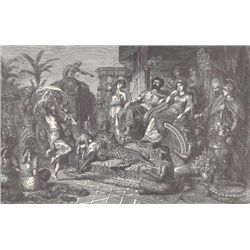 ORIGINAL Antique PRINT scene-FESTIVAL IN HONOR OF THE