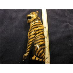 Hand Carved Tiger Water Buffalo Horn Scrimshaw Art