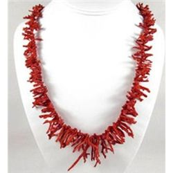 MWF1241 - Stunning Natural Red Branch Coral Necklace