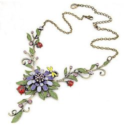 Beautiful Enamel and Crystal Floral Design Necklace