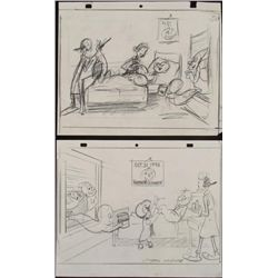 Popeye Orig Production Drawing & Sketch Waldman Signed