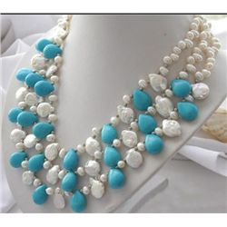 MWF980 Three row white rice & coin pearl drip turquoise