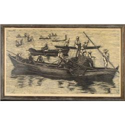 Moshe Gat Large Signed Israel Framed Print Men In Boats