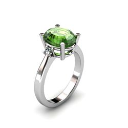 Tourmaline 2.90 ctw Diamond Ring 14kt White Gold