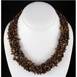 "708CTW 18"" TIGER EYE CHIPPED STONE NECKLACE METAL LOCK"