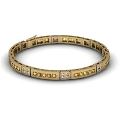 Citrine 2.56 ctw & Diamond Bracelet 14kt W OR Y Gold