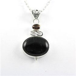 Sterling Silver Pendant Quarts Black Onyx Gemstone