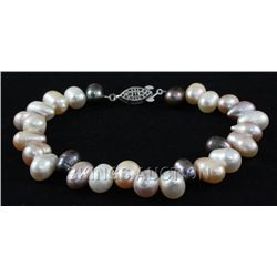 "126.2CTW 9"" BLACK-WHITE-PEACH-LAVENDER FRESHWATER PEARL"