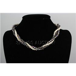 "293.82CTW 18"" WHITE-BLACK RICE PEARL NECKLACE METAL LOC"