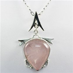 Rose Quartz Pear Shape Sterling Silver Pendant
