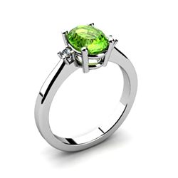 Peridot 1.35 ctw Diamond Ring 14kt White Gold