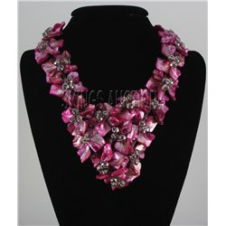 "1453.5CTW 16"" RASPBERRY SHERBET MOTHER OF PEARL NECKLAC"