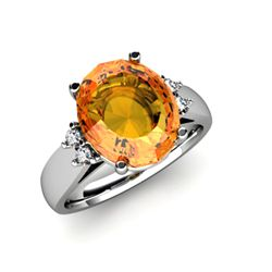 Citrine 4.20 ctw &amp; Diamond Ring 14kt White Gold