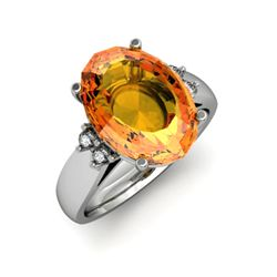 Citrine 5.20 ctw & Diamond Ring 14kt White Gold