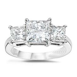 2.50 ctw Princess cut Three Stone Diamond Ring, G-H,SI2