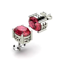 Garnet 2.80ctw Earring 14kt White Gold