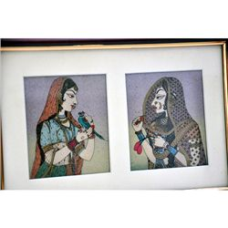 Lady P&BanniThani K RealGemsPainting size 8.5in.x12.5in