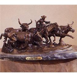 Amazing  Stampede  Bronze Sculpture by Frederick Remington.
