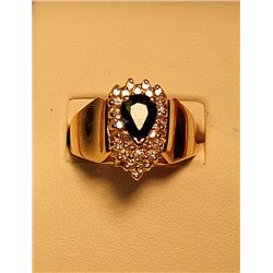 LADIES 14K YELLOW GOLD SAPPHIRE AND DIAMOND RING