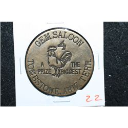 Gem Saloon Tombstone AZ Territory Brothel Token; 4 A Prize-The Biggest; Good For All Night