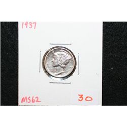 1937 Mercury Dime; MS62