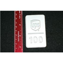 2007 UPS Ingot Celebrating 100 Yrs of Service; Pressed from Metal from Airframe of First Aircraft in