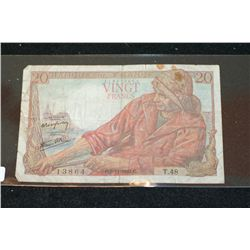 1942 France Vingt (20) Francs Foreign Bank Note