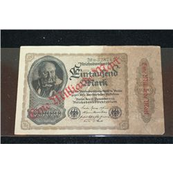 1922 German Eine Milliarde Mark Foreign Bank Note