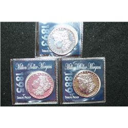 1893-S, 1889-CC & 1895 Silver Morgan $1 Tribute Proof; Lot of 3; COPY