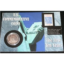 1986-S US Nation of Immigrant Commerative Half Dollar W/Postal Stamp Commerating 100th Anniversary o