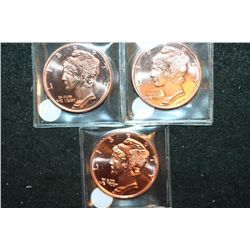 "2012 Copper Round; .999 Fine Copper 1 Oz.; Lot of 3 ""Mercury"""