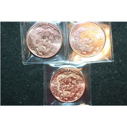 2012 Provident Metals Copper Round; .999 Fine Copper 1 Oz.; Lot of 3; Year of The Dragon