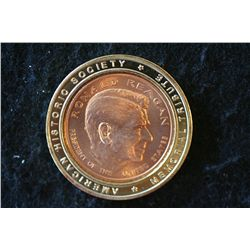 Ronald Reagan Presidential Commerative Medallion; Bronze Center Ringed in Layered 24K Gold