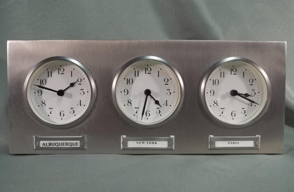 Pottery Barn 3 Time Zone World Clock. Loading Zoom