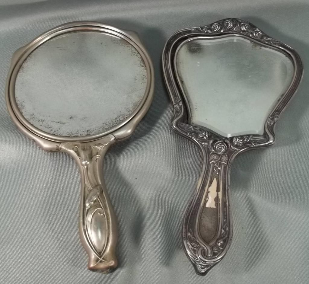 Antique Hand Mirror Drawing Intended Vintage Handheld Vanity Mirrors