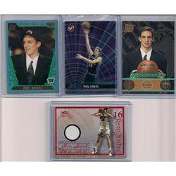 Lot of (3) Pau Gasol Rookie Cards & a Game-Worn Jersey Card