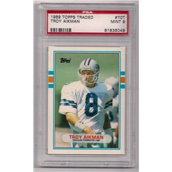 1989 Topps Traded Troy Aikman Rookie Card #70T-Graded PSA 9!