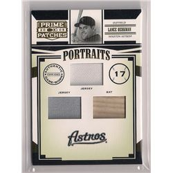 2005 Prime Patches Lance Berkman Triple Game-Used Relic Insert Card-#/150!