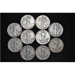 10 Walking Liberty Halves