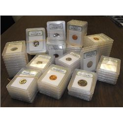 A Lot of 100 Slabbed MS Grade BU Plus Coins