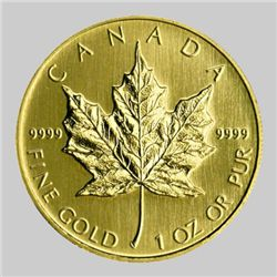 A 1 oz. Gold Maple Leaf Bullion