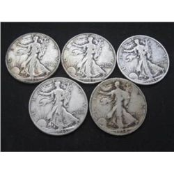 5 Walking Liberty Halves