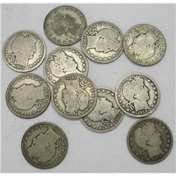 Lot of 10 Barber Half Dollars