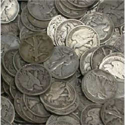 Lot of 100 Walking Liberty Half Dollars-