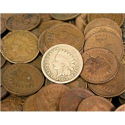 Lot of 100 Indian Head Cents-