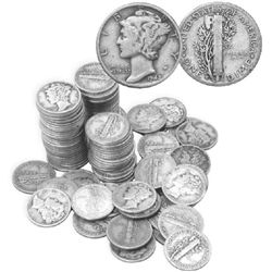 Lot of 100 Mercury Dimes-