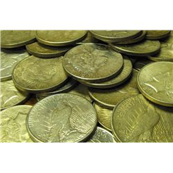 Lot of 100 Peace Silver Dollars-