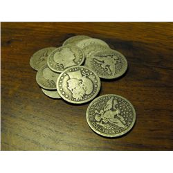 Lot of 10 Barber Quarter Dollars-Circulated