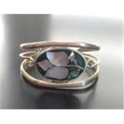 ALPACA SILVER ABALONE MOTHER OF PEARL CUFF BRACELET