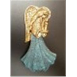 ANGEL BROOCH WITH BLUE SKIRT AND HOLDING A CANDLE